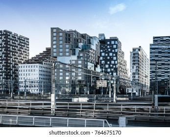 View of Beautiful modern buildings, Oslo's Barcode district rises from the fjord like an urban and super trendy in Oslo, Norway. 28 November 2017.