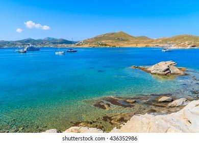 A view of beautiful Monastiri bay with turquoise sea water, Paros island, Greece