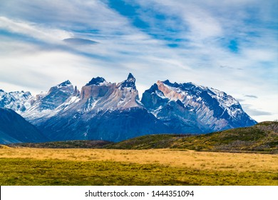 View of the beautiful mountain and large pasture at Torres del Paine National Park in Chile