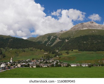 View of the beautiful mountain village of Celerina