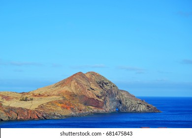 View of beautiful mountains and ocean on northern Madeira island, Portugal.