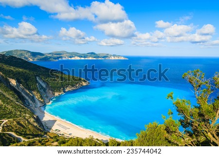 View of beautiful Myrtos bay and beach on Kefalonia island, Greece