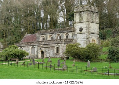 View of a Beautiful Old Church and Grounds in a English Village