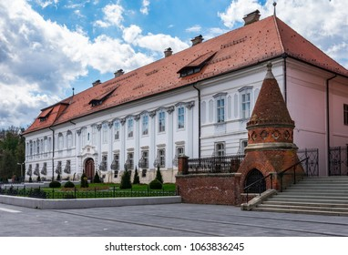 View of the beautiful old restored episcopate building in city of Djakovo in eastern Croatia near the cathedral of Saint Peter on a sunny day, Slavonia, eastern Croatia