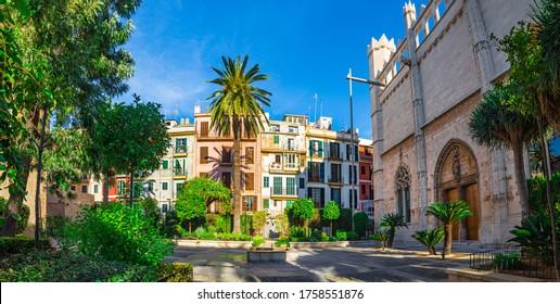 View of beautiful old town of Palma de Majorca, Spain, Europe, Balearic Islands, Mallorca
