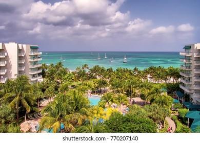 View of beautiful Palm beach in Aruba island.