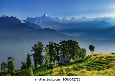 View of beautiful Panchchuli Peaks of the Great Himalayas as seen from Munsiyari, Uttarakhand, India.