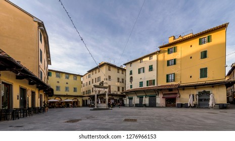 View of the beautiful Piazza della Sala in a moment of tranquility, Pistoia, Tuscany, Italy
