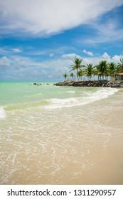 A view of the beautiful Praia do Sossego (Sossego beach) on Itamaraca island (Pernambuco, Brazil)