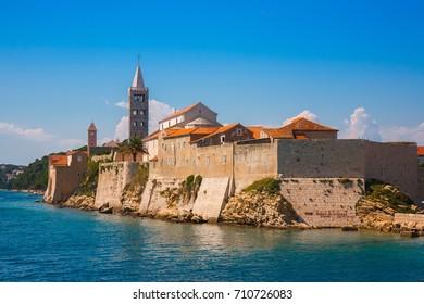 View of beautiful resort town Rab on the island of Rab in Croatia