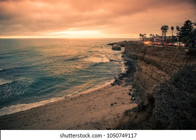 View of beautiful San Diego California at Sunset Cliffs in Point Loma with Pacific Ocean and rocky coastline