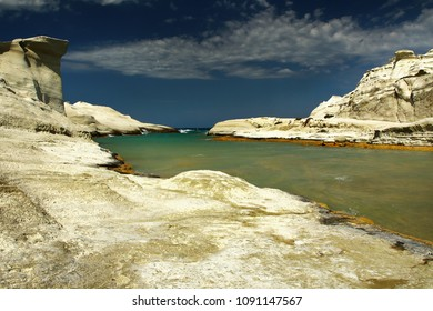 view of beautiful Sarakiniko beach in Milos island