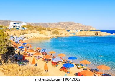 View of beautiful sea at Ammopi beach, Karpathos island, Greece