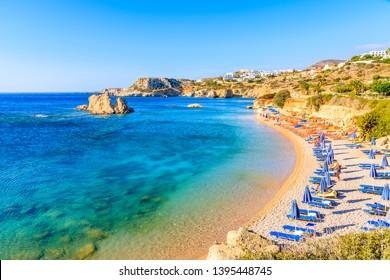 View of beautiful sea bay at Ammopi beach, Karpathos island, Greece