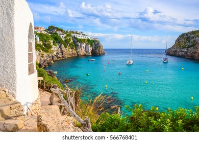 View of beautiful sea bay Cala en Porter, Menorca island, Spain
