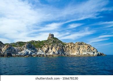 View of beautiful sea of Villasimius, in Sardinia, Italy