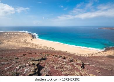 View of the beautiful Shells Beach (Playa de Las Conchas), at La Graciosa Island - La Graciosa, Canary Islands, Spain