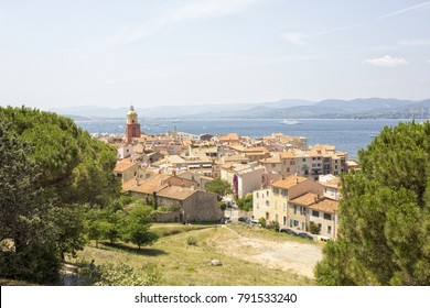 View of the beautiful summery village of Saint Tropez city located in the South of France.