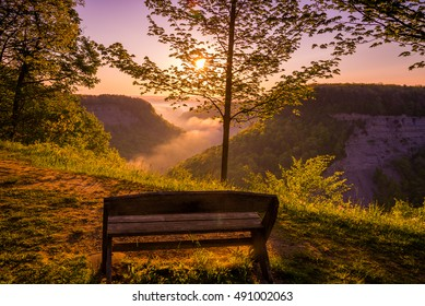 View of a beautiful sunrise at an overlook in Letchworth State Park