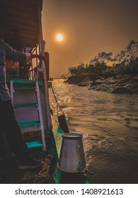 A view of beautiful sunset in Sundarban ,the mangrove forest from house boat.