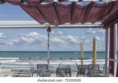View of a beautiful terrace in a beach