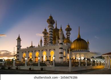 view of the beautiful Ubudiah Mosque, Kuala Kangsar, Perak, Malaysia. during sunset