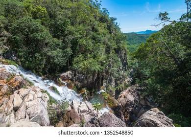 View of a beautiful valley from Cachoeira das Capivaras (Capybaras Watefall) - Chapada dos Veadeiros (Deers Tableland), Cavalcante, Goiás, Brazil