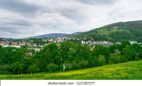 The view at the beautiful valley of Rauenstein near Coburg, Germany