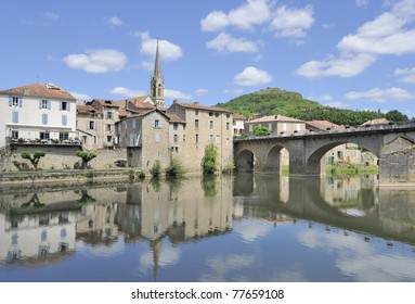 View of the beautiful village of Saint-Antonin-Nobe-Val, Midi-pyrenees in southern france