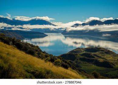 The view of beautiful Wanaka hiking up Roy's Peak