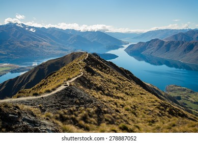The view of beautiful Wanaka hiking up Roy's Peak