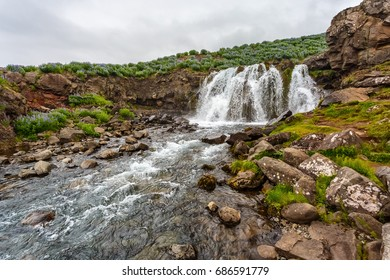 View of beautiful waterfall in Iceland
