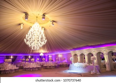 View of the beautiful wedding hall, the tent