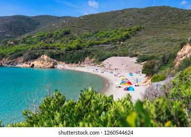 View of the beautiful wild beach on Elba Island and the blue lagoon. Elba island, Tuscany, Italy