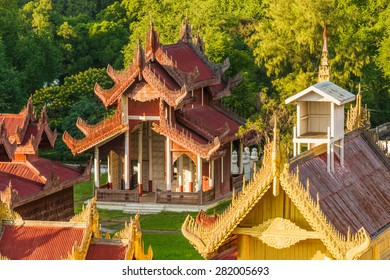 View of a beautifully carved temple on the Mandalay Royal Palace grounds