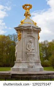 A view of the Beethoven-Haydn-Mozart Memorial, situated in the Tiergarten in the city of Berlin, Germany.  The sculpture of Jospeh Haydn is visible in this image.