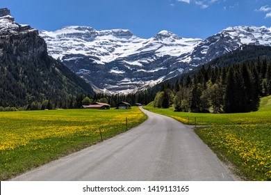 View of the begining of the road of the Col de la Croix in the swiss alps, starting in Les Diablerets, and finishing in Villars sur Ollon