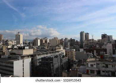 View of Beirut from the top of a building in Hamra Street one of main commercial areas of the city
