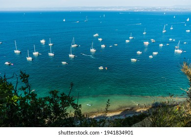 View of Bele Skale beach in Slovenia, Sailing boats near the moon bay,  - Shutterstock ID 1941834901