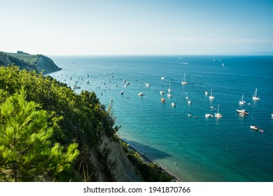 View of Bele Skale beach in Slovenia, Sailing boats near the moon bay,  - Shutterstock ID 1941870766
