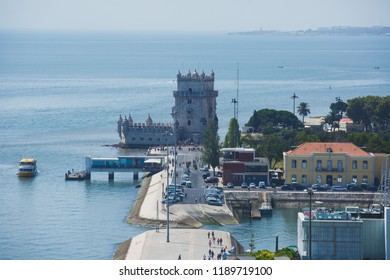View of Belem district, civil parish of the municipality of Lisbon, Portugal, with Belem Tower, Torre de Belem in Portuguese, a prominent example of the Portuguese Manueline style
