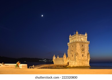 view of the belem tower at night (late afternoon), an historical monument in Lisbon, Portugal, Europe
