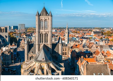 View from Belfort tower with St. Nicholas Church, Ghent, Belgium