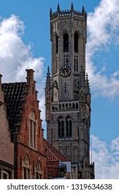 View of Belfry of Bruges (Belfort van Brugge) tower in Bruges, Belgium.