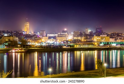 View of Belgrade downtown at night - Serbia