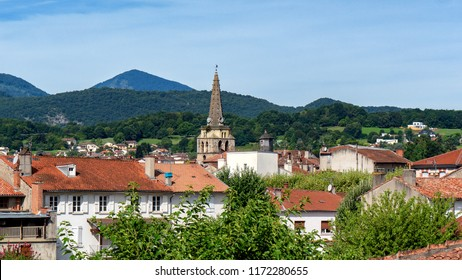 a view of the bell tower of the church of Saint Girons in Ariege