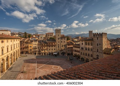 View from the bell tower of the Church of Santa Maria della Pieve, Arezzo, Italy
