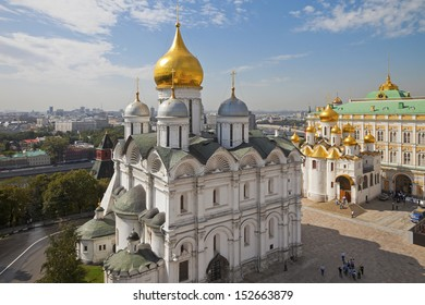 View from the bell tower of Ivan the Great. Archangel and Annunciation cathedrals, Grand Kremlin Palace, Cathedral Square of the Moscow Kremlin, Russia.