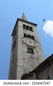View of bell tower of Sant'Ambrogio Church, Omegna City, Orta Lake, Italy