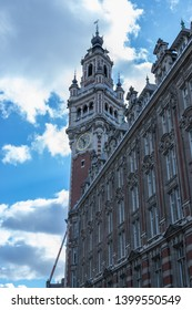 View of the bell towers and the Chambre de Commerce building in Lille.The belfry, 76 m high, of the Neo-Flemish style, is the symbol of the city of Lille.